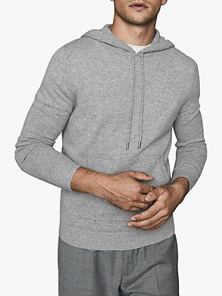 Reiss Hooper Cashmere Knit Hoodie, Grey