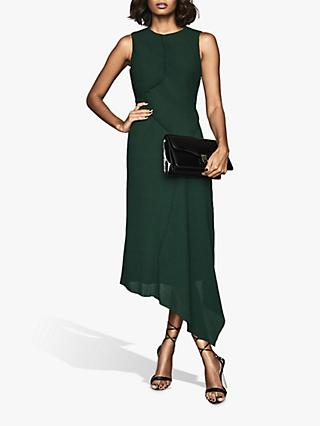 Reiss Rhona Micro Pleat Asymmetric Dress, Green