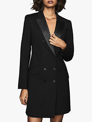 Reiss Sofia Tuxedo Dress, Black