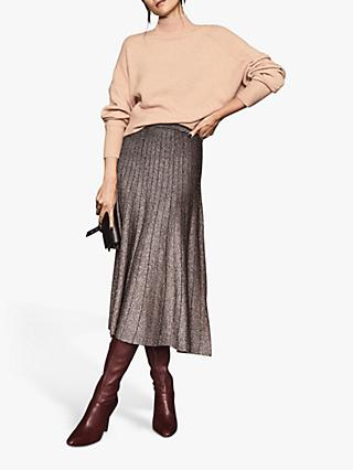 Reiss Bea Metallic Pleat Effect Midi Skirt, Bronze