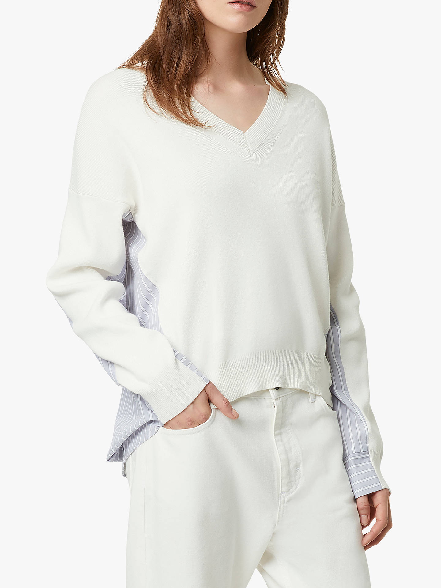 99a578245 French Connection Vanna Mix Cotton V-Neck Jumper, Winter White