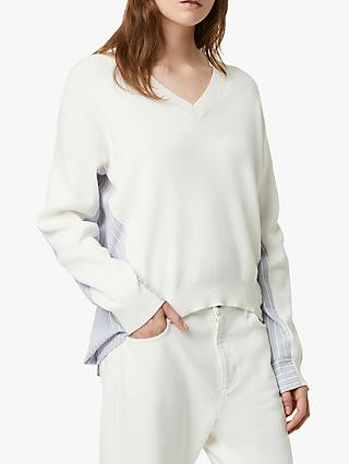 French Connection Vanna Mix Cotton V-Neck Jumper, Winter White