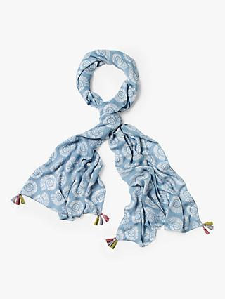 White Stuff Verity Seashell Printed Scarf, Duck Egg