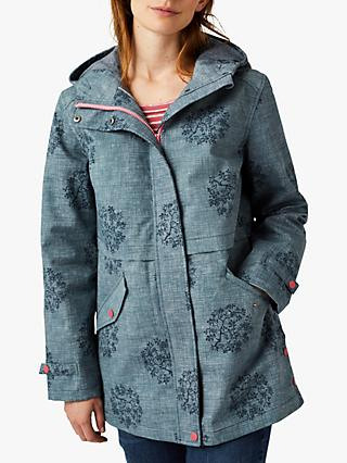 White Stuff Dolton Ditsy Floral Raincoat, Chambray Blue