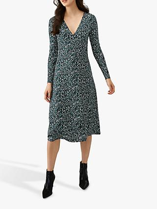 Pure Collection Midi Wrap Dress, Teal/Multi