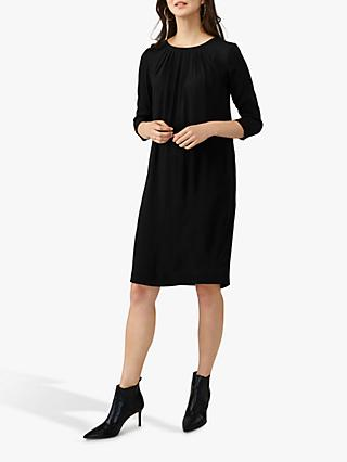 Pure Collection Pleat Detail Dress, Black