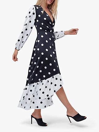 Coast Contrast Spotted Wrap Dress, Monochrome