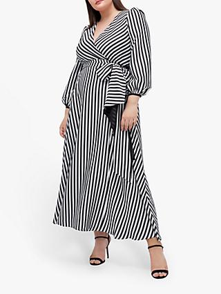 Coast Curve Striped Wrap Maxi Dress, Monochrome