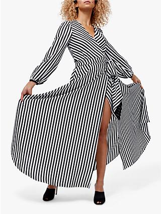 Coast Striped Wrap Dress, Monochrome