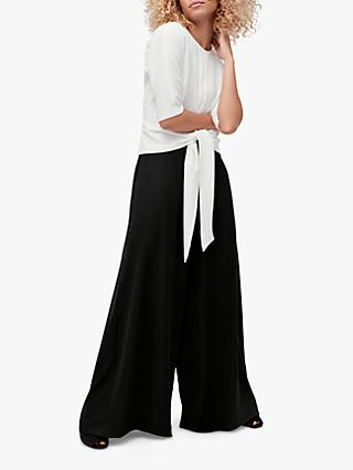 Coast Tie Front Wide Leg Jumpsuit, Monochrome