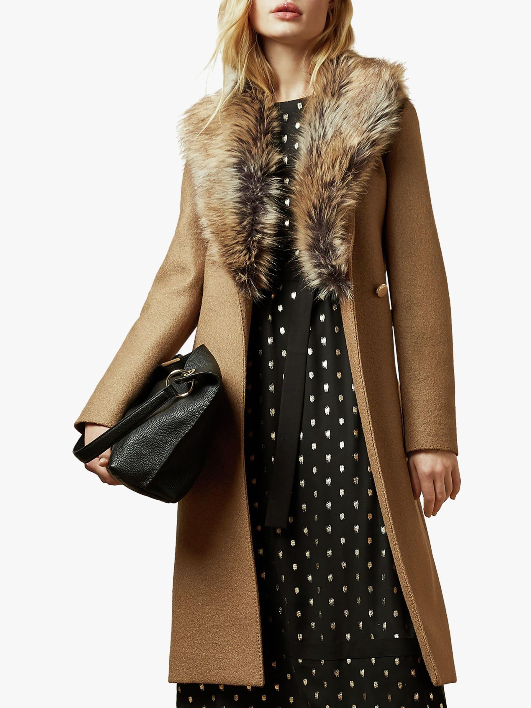 Ted Baker Ted Baker Corinna Faux Fur Trim Wool Coat, Brown Tan