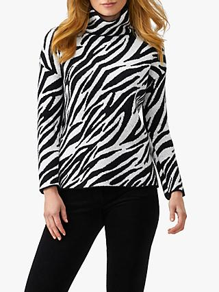 Pure Collection Zebra Print Jumper, Black/White