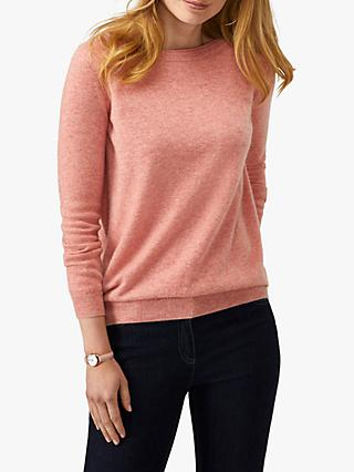 Pure Collection Cashmere Crew Neck Boyfriend Sweater, Rose Marl