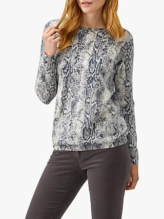 Pure Collection Snake Print Boyfriend Jumper, Charcoal/Multi