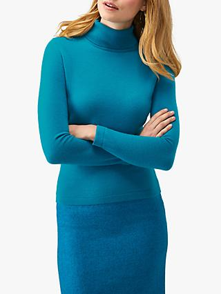 Pure Collection Roll Neck Cashmere Sweater, Rich Peacock