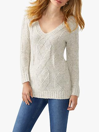 Pure Collection Brushed Cable Jumper, Heather Netural