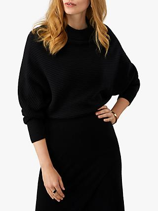 Pure Collection Batwing Crop Jumper, Black