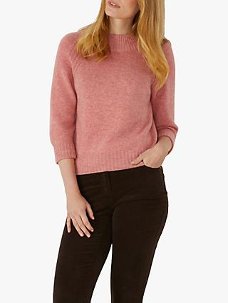 Pure Collection Turtle Neck Jumper, Rose Marl Pink