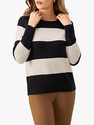 Pure Collection Stripe Jumper, Black/Neutral