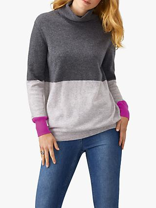 Pure Collection Polo Neck Jumper, Grey/Multi