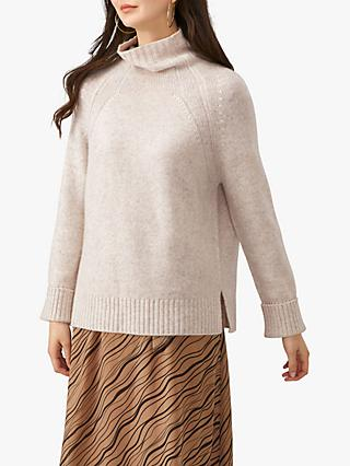 Pure Collection Luxury Funnel Neck Jumper, Marble Twist