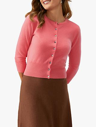Pure Collection Cashmere Cropped Cashmere Cardigan, Salmon Pink