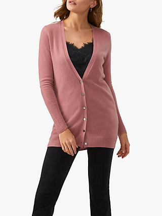 Pure Collection Cashmere Boyfriend Cardigan, Dusty Rose