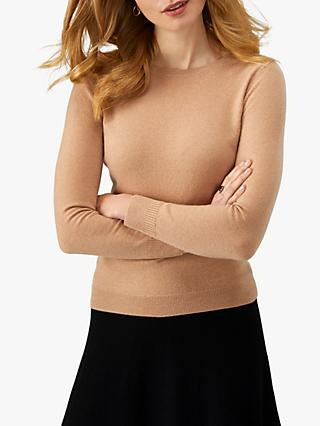 Pure Collection Cashmere Crew Neck Sweater, Caramel