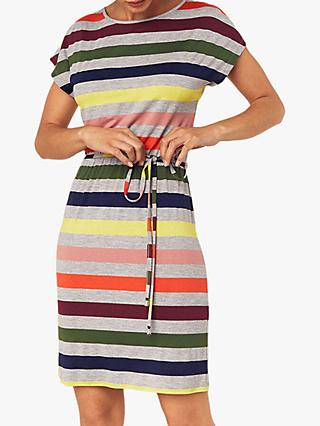 Oasis Stripe T-Shirt Dress, Grey/Multi