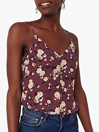 Oasis Floral Rose Button Through Vest Top, Burgundy