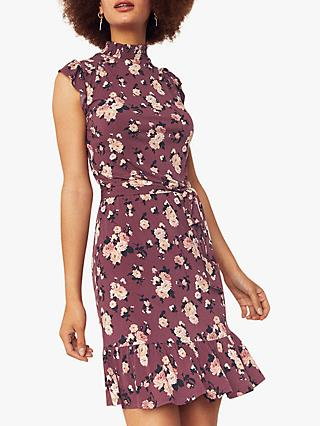 Oasis Erin Rose Floral Dress, Multi Red