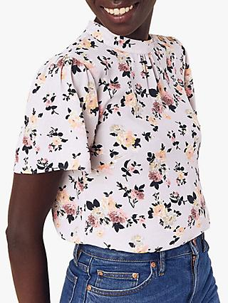 Oasis High Neck Floral Top, Multi/Grey
