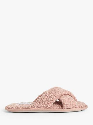 John Lewis & Partners Cross Slider Slippers, Pink
