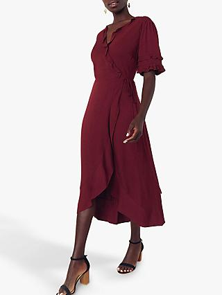 Oasis Ruffle Wrap Skirt Midi Dress, Berry