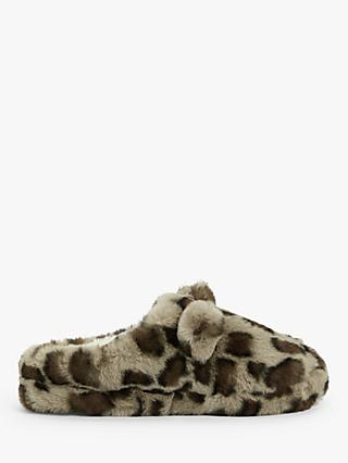 John Lewis & Partners Leopard Print Mule Slippers, Brown