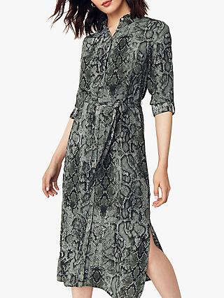 Oasis Snake Print Midi Shirt Dress, Green/Multi