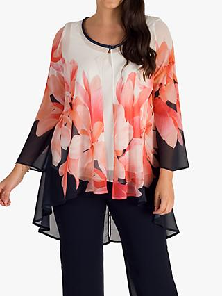 Chesca High Low Chiffon Floral Coat, Navy/Coral/Ivory