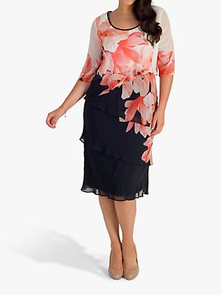 chesca Garland Border Layered Chiffon Dress, Navy/Coral/Ivory