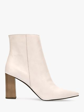 Mint Velvet Melanie Leather Pointed Ankle Boots, White