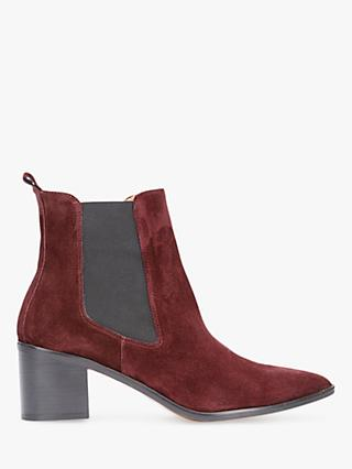 Mint Velvet Jenni Leather Pointed Ankle Boots, Dark Red