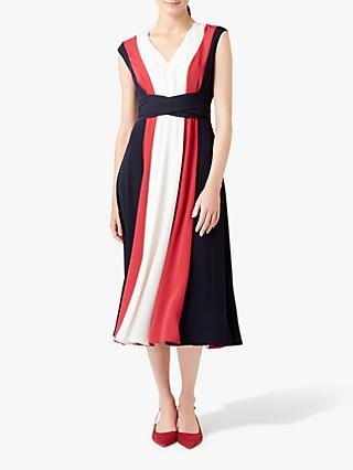 Hobbs Bailly Colour Block Flared Dress, Navy/Ivory