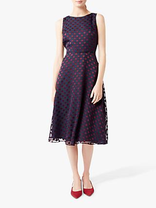 Hobbs Adeline Spot Dress, Navy/Burgundy