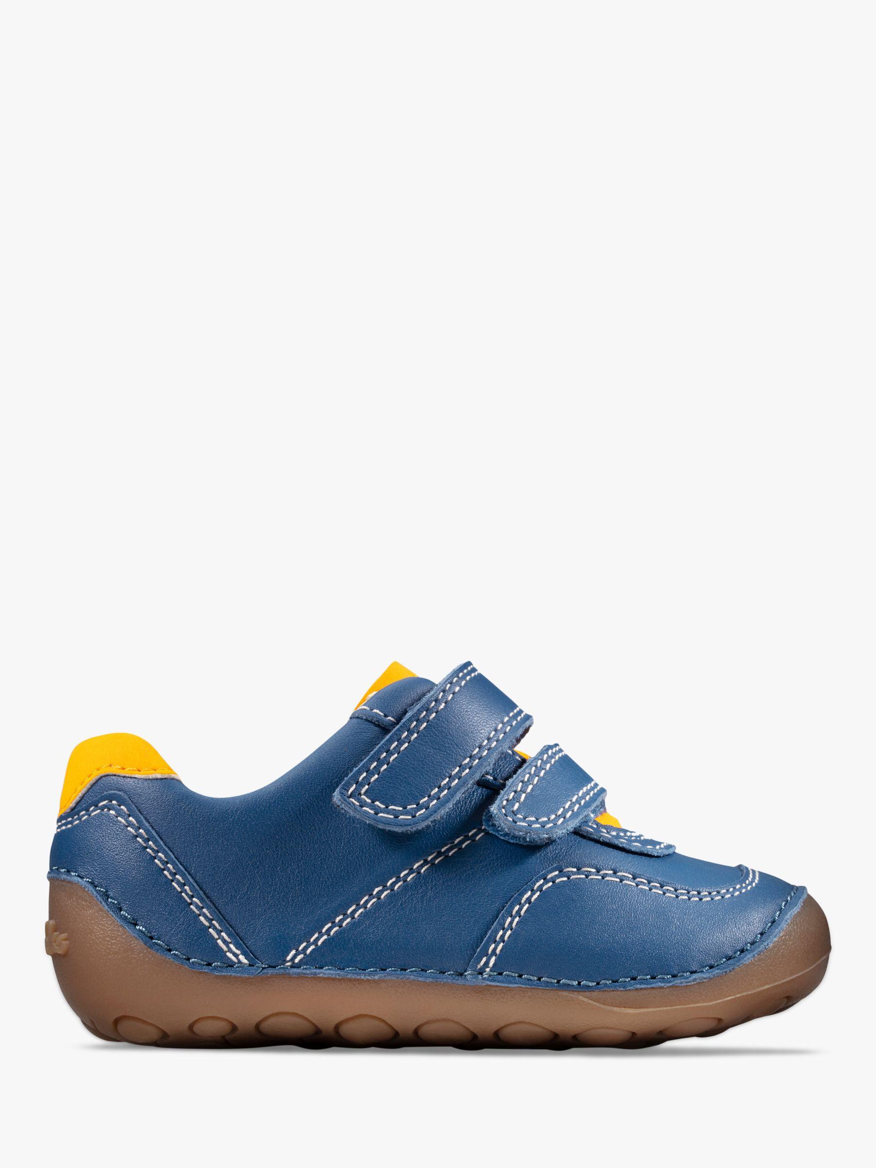 Size 13.5 New Clark Girls Denim Blue Leather Sandals