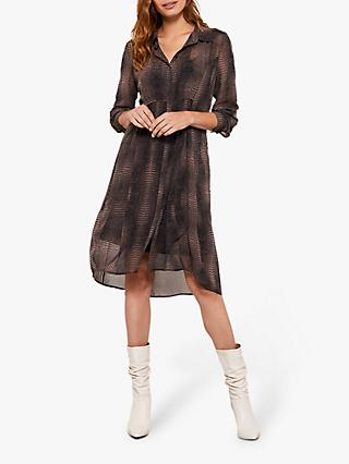 Mint Velvet Crocodile Print Dress, Brown/Multi