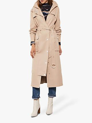 Mint Velvet Cotton-Blend Trench Coat, Beige