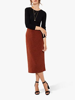 Mint Velvet Flossy Print Pencil Skirt, Multi