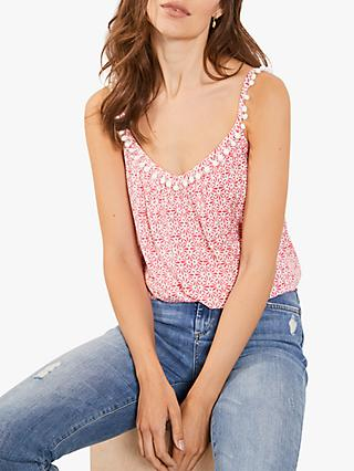 Mint Velvet Sofia Print Smock Cami Top, Red