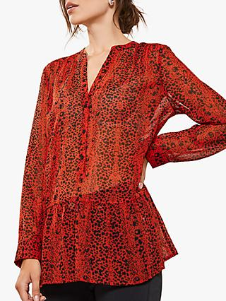 Mint Velvet Kiera Animal Print Tunic, Red/Multi