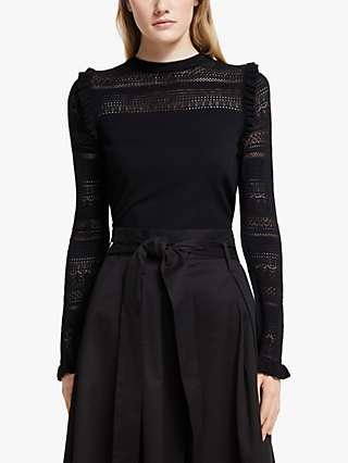 Somerset by Alice Temperley Pointelle Knit Top, Black