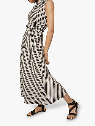 Karen Millen Striped Midi Dress, White/Multi